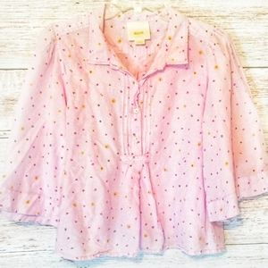 Maeve Top Purple Floral Size Large Long sleeve